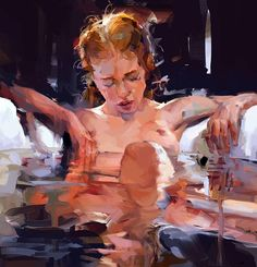 Contemporary oil painting by Mateja Petkovic Art And Illustration, Landscape Illustration, Figure Painting, Painting & Drawing, Petkovic, Anatomy Art, Life Drawing, Erotic Art, Figurative Art