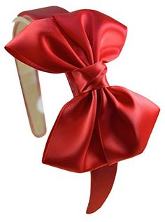 Girls Satin BOW Arch Headband By Funny Girl Designs RED >>> Visit the affiliate link Amazon.com on image for more details.