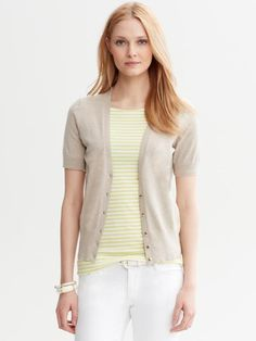 Banana Republic Short-sleeve Cardigan in Beige (natural linen )