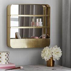 Brass beauty organizer. Organize your makeup, nail polish, and more. Makeup organization.