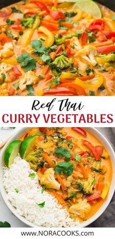 Red Thai Curry Vegetables – Nora Cooks The most delicious Vegan Thai Red Curry that tastes better than anything from a restaurant! Vegetarian Curry, Vegetarian Recipes Dinner, Vegan Dinners, Veggie Recipes, Indian Food Recipes, Asian Recipes, Whole Food Recipes, Cooking Recipes, Healthy Recipes