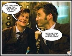 That's the best Pair-a-Docs I've ever heard of. Doctor Who humor. David Tennant is my favorite Doctor. Second Doctor, Doctor In, Eleventh Doctor, Doctor Who Jokes, Doctor Humor, Fandoms, Don't Blink, David Tennant, Paradox