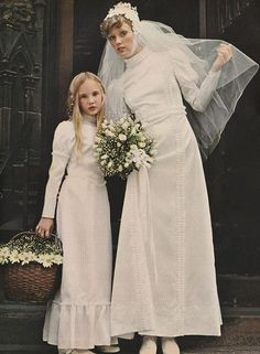 October 1973. 'For the traditionalist, the heirloom look of a Victorian dress in delicate white-on-white striped satin.'