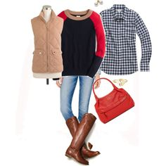 """Red , navy gingham & saddle"" by maomi on Polyvore"