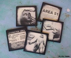 Area 51 coasters  set of 5 wooden coasters  by Spooky Shades