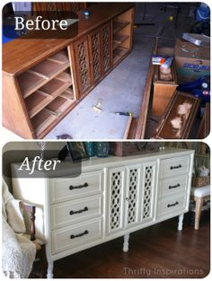 DIY Painted Furniture: Sideboard Before After Tutorial - Awesome Transformation - by Thrifty Inspirations