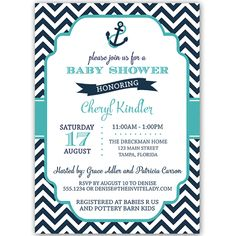 Anchor Chevron Navy and Aqua Baby Shower Invitation