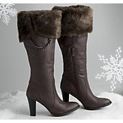 These fur-topped boots with a chain detail are 109.00.  Get the same look with your own boots and boot toppers from Top of the Boot for 39.99.  You can also add their Chain & Charm set for 17.99. www.mytopoftheboot.com