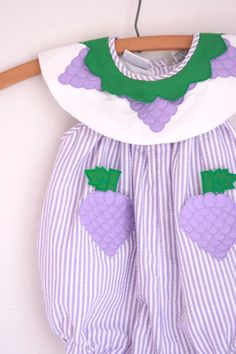 Vintage girls romper purple grapes  2t summer outfit by fuzzymama on Etsy