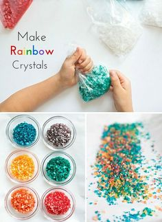 Make beautiful rainbow crystals kids can make with just two ingredients!