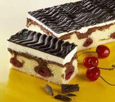 Three-Layered Cake with Cherries, Cream and Chocolate: Donauwellen - Danube Waves Cake