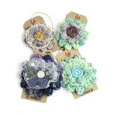 Textile brooch,  crochet lace button brooch pin, purple blue green, angora wool, crochet accessories, fiber jewelry, uk seller