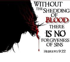 "His Blood Was Shed For Our Sins. - Hebrews 9:22, ""And almost all things are by the law purged with blood; and without shedding of blood is no remission."""