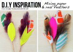 Mixing colourful paper and feathers! These would look nice instead of flowers in a vase.