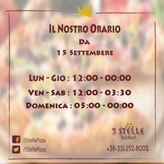 I nostri orari di apertura saranno combiate dal 15 settembre. Lun - Gio: 12:00 - 00:00 Ven - Sab: 12:00 - 03:30 Domenica: 05:00 - 00:00