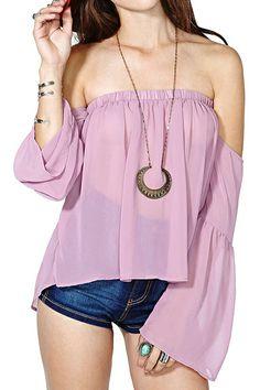 ROMWE Asymmetric Off-shoulder Flare Sleeves Crepe Purple Blouse.  www.romwe.com/romwe-asymmetric-offshoulder-flare-sleeves-crepe-purple-blouse-p-81906.html?BID=139047&AfID=260679