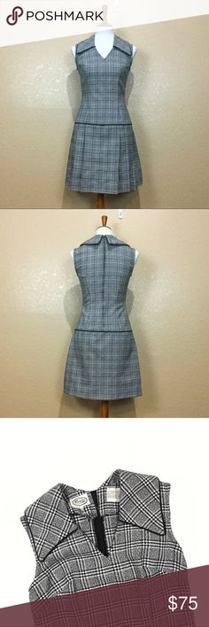 """VTG Mod 60s Drop Waist Glen Plaid Scooter Dress Vintage Mod Scooter Dress in a distinctly British Glen Plaid. Features sweet pleated drop waist skirt. Brand is Frank Lee of California. Dated mid-late 60s. No size tag, fits closest to an Medium-6. Waist: ~29"""" (measured 6"""" from pit across smallest part of torso). Bust (measured lying flat): ~30"""", (fits my dress form which is 34"""" but too tight for my 36DD chest). Drop Waist: ~37"""". Composition tag missing but care tag indicates a Polyester Knit…"""