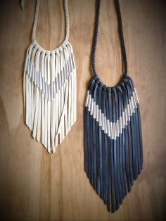 Chevron Leather Fringe Necklace by nativerainbow on Etsy