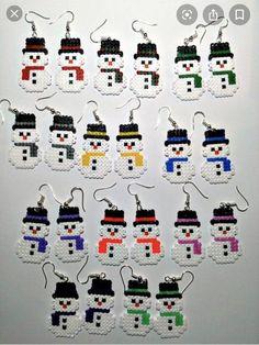 Snowmen Earrings, Snowman Hama Beads Earrings, Snowman Perler Beads, Christmas E. Hama Mini, Mini Hama Beads, Diy Perler Beads, Perler Bead Art, Fuse Beads, Perler Earrings, Crochet Earrings, Perler Bead Designs, Hama Beads Design