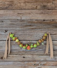 What a cool idea! This would work perfectly with Cold Snap pears... they stay hard for a long period of time, so the wreath will last!