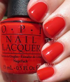 OPI Holiday 2014 Gwen Stefani Collection Swatches: Fashion a Bow (red orange jelly 3 coats)