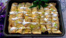 Naleśniki zapiekane z mięsem i warzywami - Blog z apetytem Asparagus, Cheese, Meat, Chicken, Vegetables, Blog, Pierogi, Studs, Vegetable Recipes