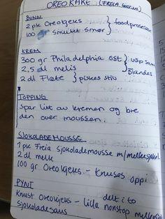 Pisa, Oreo, Mousse, Bullet Journal