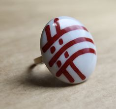 Vintage Red & White Mod Check Cocktail Ring. Cute Handmade Jewelry from a New Orleans Artist