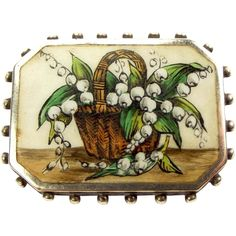 Antique Victorian Silver & Enamel LILY Of The VALLEY Brooch 1888