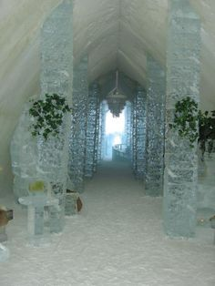 The main hall of the Ice Hotel in Quebec City - Built new every winter!  | Travel Dudes Social Travel Blog