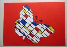 Sjabloon voor Mondriaan kunst, thema kunst voor kleuters, inclusief sjablonen, kleuteridee.nl , Art theme preschool Mondrian