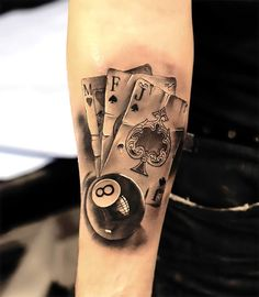 A badass gambling tattoo idea for men who need luck. Style: Black and Gray. Color: Gray. Tags: Badass