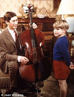 Cello, hello: Prince Charles gives a music lesson to his youngest brother Prince Edward, (Joan Williams copyright) Prince Charles And Camilla, Prince Philip, Prince Of Wales, Prince Edward, Prince William, Prinz Charles, Today Pictures, House Of Windsor, Queen Of England