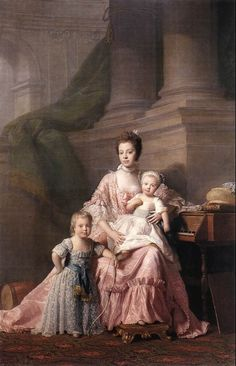 Queen Charlotte:This portrait is of Queen Charlotte with 2 of her 15 children she eventually gave birth to who was married to King George III