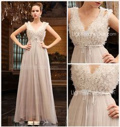 A-line V-neck Floor-length Tulle Over Chiffon Luxurious Dresses