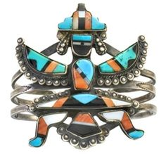 Historic Zuni Inlaid Knifewing Bracelet