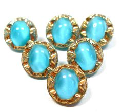 50s Glass buttons, 6 turquoise & gold moonglow German buttons.