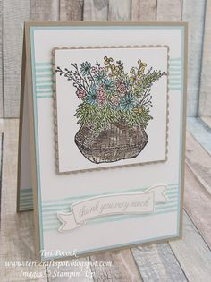 Stampin' Up! UK Demonstrator - Teri Pocock: Basket For You . Paper Crafts, Diy Crafts, Stamping Up Cards, Baby Cards, Flower Cards, Your Cards, Scrapbook Pages, Thank You Cards, Cardmaking