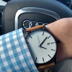 White/Black Tan Leather   MVMT Watches