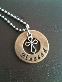 Mixed Metal Hand Stamped Inspirational Jewelry Necklace Pendant on Etsy, $18.00