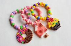 Kawaii Sweets Perler Charm Kandi Bracelets  Set by PlanetRainbow