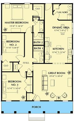 floor plan: Cute Southern Cottage - floor plan - Main L. Cottage Floor Plans, Ranch House Plans, Cottage House Plans, Craftsman House Plans, Best House Plans, Modern House Plans, Small House Plans, Cottage Homes, House Floor Plans