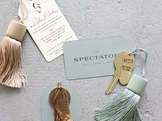 hotel branding We love the idea of framing a key to your favorite hotel in a chic shadowbox. Cant wait to visit The Spectator Hotel, that is opening soon in Charleston. Hotel Branding, Stationary Branding, Identity Branding, Visual Identity, Luxury Branding, The Spectator, Passementerie, Design Hotel, Trendy Wedding