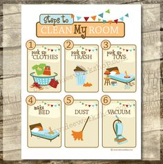 Instant Download - Printable Clean My Room Chart - Neutral Theme