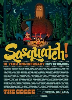 I love these Sasquatch music festival poster by Invisible Creature.  We have one from a couple of years ago hanging over Miles' crib and another one in the playroom.  Might need this new one.