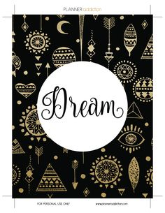 Free Printable Insert for Happy Planner - Dream August or Dream journal