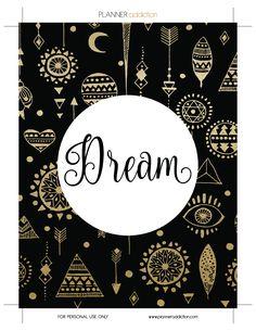 Free Printable Insert for Happy Planner - Dream August or Dream journal