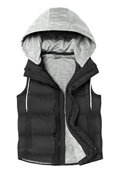 Women's Outerwear Vests - HOTOUCH Womens Quilted Padding Puffer Vest With Removable Hooded >>> Click image to review more details. (This is an Amazon affiliate link)