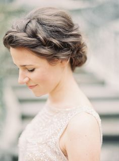 soft crown braid and chignon.