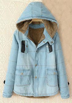 Light Blue Plain Zipper Pockets Cotton Blend Padded Coat